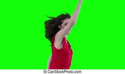 femme, énergiquement, danse