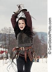 femme, épée moyen age, déguisement