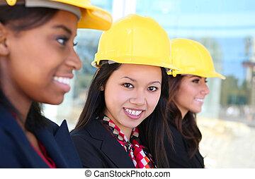 femme, équipe, construction