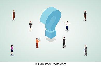 femme, équipe, mâle, travail, solutions, problèmes, isométrique, style, résoudre, gens, moderne, trouver, business