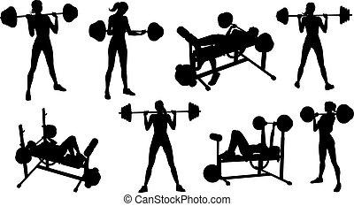 femme, équipement salle gymnastique, silhouettes, ensemble, fitness