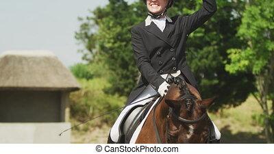 femme, équitation, caucasien, cheval, elle