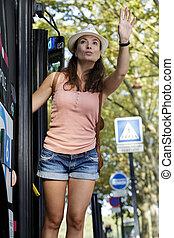 femme, équitation, quelqu'un, onduler, avant, autobus