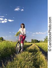 femme, équitation vélo