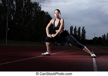 femme, étendue, athlète, piste, fitness, athlétisme