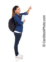 femme, étudiant université, pointage