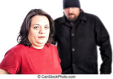 femme, être, assaulted