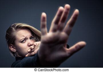femme, être, violence, conjugal, jeune, victime