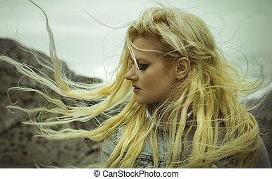 femme, île, déplacé, longs cheveux, blonds, paradis, beau, vent