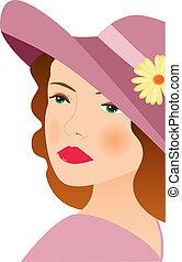 femme, 2, chapeau