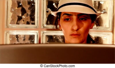 femme, 2, informatique, jeune