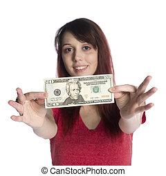 femme, 20, projection, note, dollar, jeune, nous, heureux
