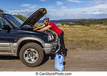 femme, 4wd, elle, fixation, bas, cassé, voiture