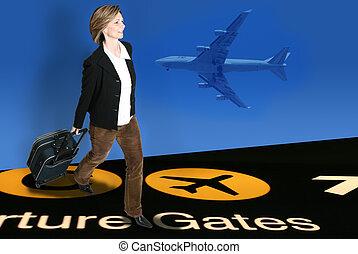femme, aéroport