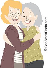 femme aînée, étreinte, illustration