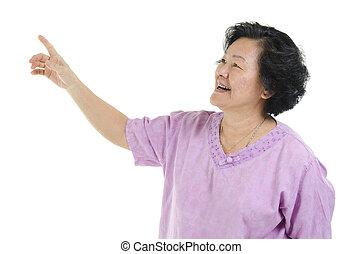 femme aînée, adulte, pointage doigt