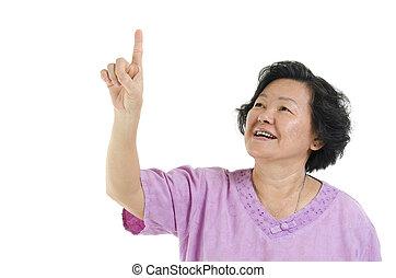 femme aînée, adulte, pointage, main