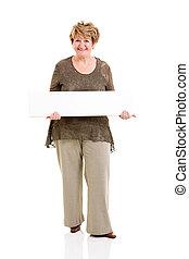 femme aînée, blanc, tenue, planche