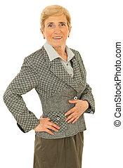 femme aînée, business, heureux