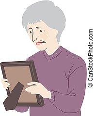 femme aînée, cri, illustration