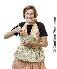 femme aînée, cuisine, citoyen