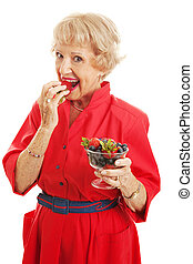 femme aînée, -, délicieux, baies
