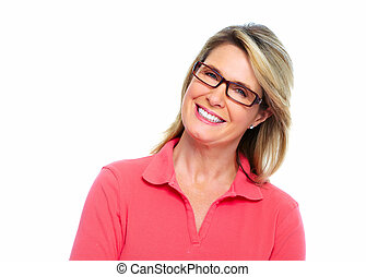 femme aînée, eyeglasses.