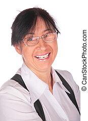 femme aînée, gros plan, lunettes