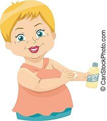 femme aînée, illustration, sunscreen