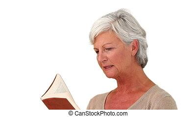 femme aînée, livre, lecture