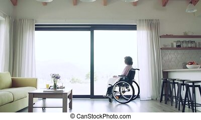 femme aînée, maison, solitaire, fauteuil roulant, regarder dehors, fenêtre., intérieur