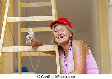 femme aînée, peinture