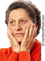 femme aînée, pensées, triste