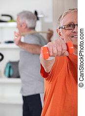 femme aînée, pratiquer, fitness