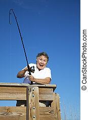 femme aînée, prises, fish