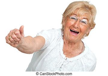 femme aînée, projection, positivity., heureux