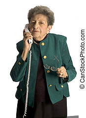 femme aînée, téléphone
