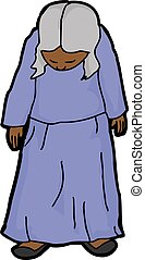 femme aînée, timide, illustration