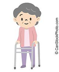 femme aînée, utilisation, marcheur