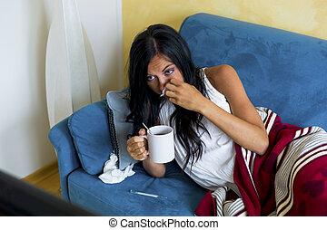 femme, a, grippe, fièvre