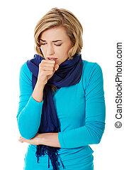 femme, a, grippe, jeune