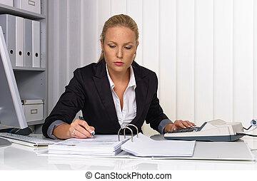 femme, abaque, bureau