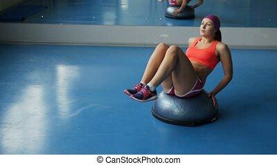 femme, abdominal, jeune, gym., exercices, sport