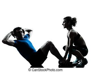 femme, abdominal, séance entraînement, exercisme, fitness, homme