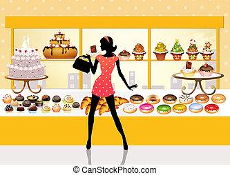 femme, achats, pâtisseries