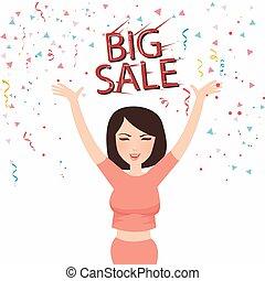 femme, acheteur, grand, vente, figure, texte, sourire, célébrer, heureux