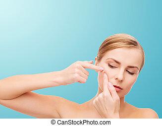 femme, acné, serrage, jeune, taches