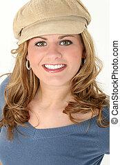 femme, adolescent, chapeau