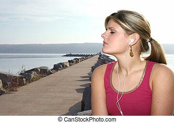 femme, adolescent, musique