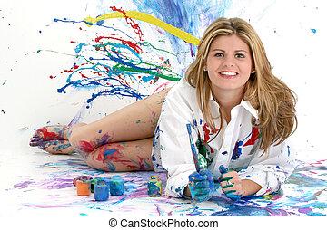 femme, adolescent, peinture